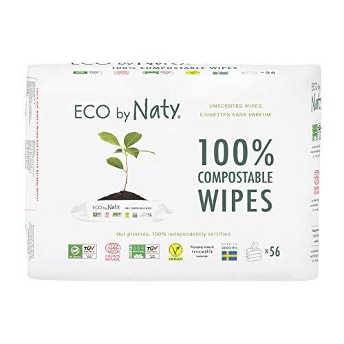 Eco de Naty 3 Paquets de 56 Lingettes Compostables en Matière Végétale pour Bébé sans Parfum, 0% Plastique sans Produit Chimique Nocif