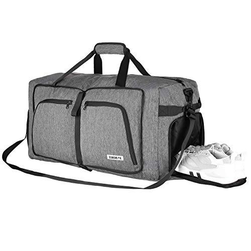 FORTUNAM Sac de Voyage Sac de Sport Homme Foldable Travel Duffel Bag avec Compartiment à Chaussures Sacs de Voyage Imperméables de Grande Capacité Sac Gym Fitness Sac à Week-End (Gris)