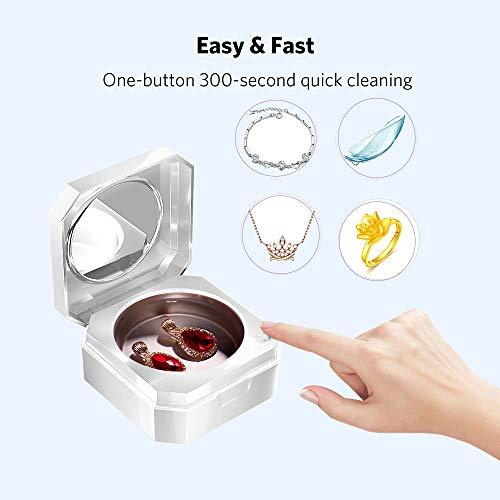 MLSJM Schmuck Reinigungsmaschine 45Ml Mini Bewegliche Neue Upgrade-Multifunktionsreinigungsmittel Für Die Reinigung Von Kontaktlinsen-Ring Halskette Armband, USB-Gebühr, Wissen