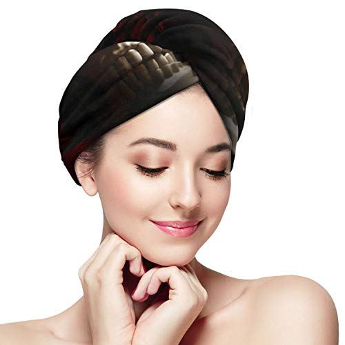 Sugar Roes Flowers Skull Skeleton Microfiber Hair Towel Wraps with Button for Women Quick Dry Anti-frizz Head Turban for Long Thick Curly Hair Super Absorbent Soft Bath Cap 11¡± X 28¡±