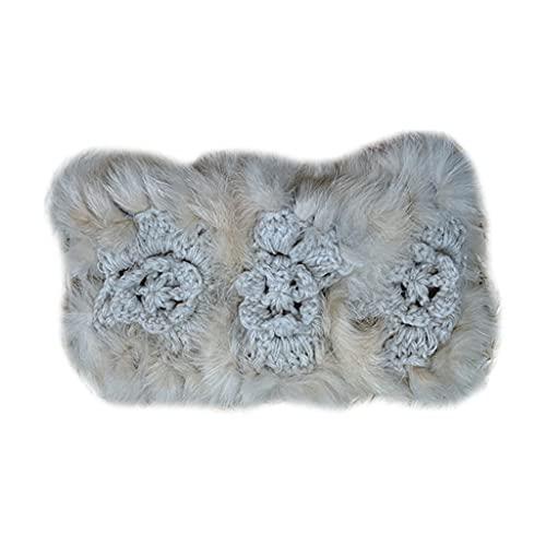PHILSP Crochet Flor Caliente Diademas Elástica De Piel De Conejo Diademas De Oído Calentadores De Oído Amplio Turbante Suave Cabeza Envoltura