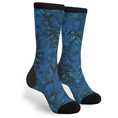 Calcetines Calcetines Altos Calcetines de vestir divertidos unisex con cara de gato azul marino Calcetín 40CM
