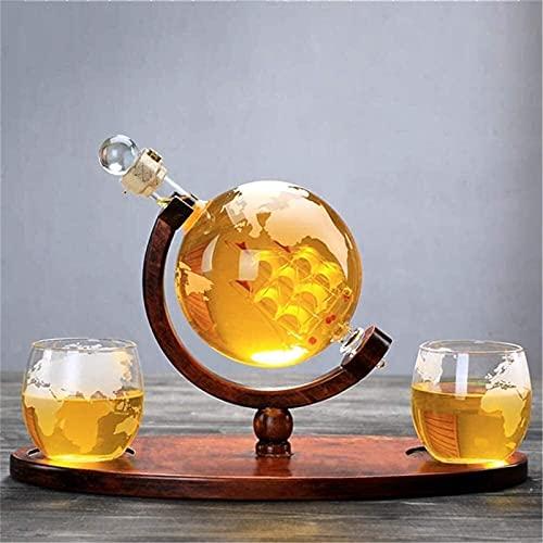 KDHSD Decantadores Whisky Decanter Whiskey Gafas Hermoso Elegante soplado de Vidrio de Vidrio decantador Conjunto con 2 Taza, dispensador de cócteles, Botella sellada