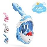 DCYSO Snorkel Mask Full Face Kids - 2020 Shark Sharp Snorkeling Mask for Kid HD Seaview Anti Fog Anti Leak (Blue)