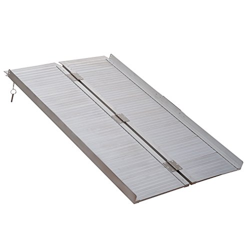 HOMCOM 4ft Folding Aluminum Wheelchair Ramp Mobility Assist Suitcase Access Aid Disabled