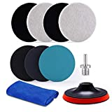 ZFE 5Inch Glass polishing Pads, 10Pcs Wool Felt Disc Polishing Pads Kit Buffing Pads with Sanding Discs, Backing Pad and M14 Drill Adapter for Rotary Tools to Polish Glass and Metal