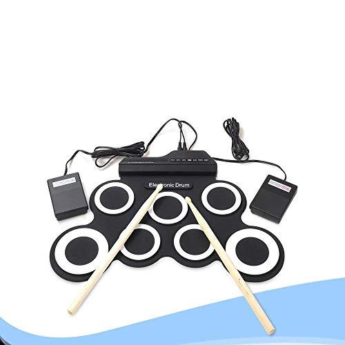 LQLQO Instrumentos Musicales de batería de Mesa de Silicona Plegables con batería, USB/batería, con metrónomo Incorporado, Negro