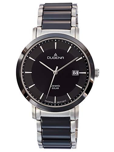 Dugena Herren Solar Armbanduhr Edelstahl Keramik Silberfarben/Schwarz 4461005