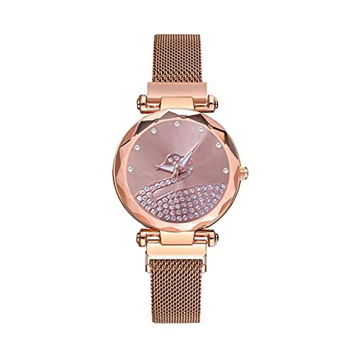 CXJC Reloj de Cuarzo magnético de Milan Mesh Belt. Moda Reloj de Mujer con patrón de Cisne de Diamantes de imitación. 5 Colores Disponibles en Negro, Rojo, púrpura, Azul y Oro. (Color : E)