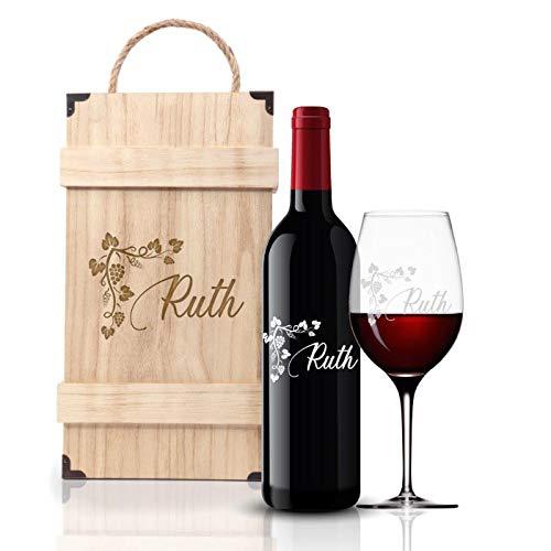 FORYOU24 Premium Weinbox Weinranke mit Leonardo Weinglas Gravur und Weinflasche