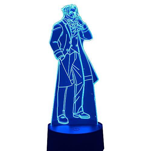 Anime Ace Attorney Miles Edgeworth LED-Nachtlicht für Schlafzimmer, Dekoration, Geburtstagsgeschenk, Nachtlampe, Miles Edgeworth Licht Gadget