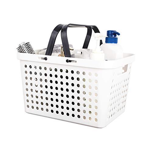 Cesto portaoggetti con manici, piccolo cestino da bagno in plastica, cestino portaoggetti per bagno, cucina, 30,5 x 22,5 x 18 cm, bianco