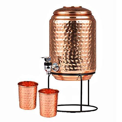 Atlantic Traders - Serbatoio in rame (Matka), design martellato da 5 litri con 4 vetro di rame e supporto per pentole, senza giunti, 100% puro rame.