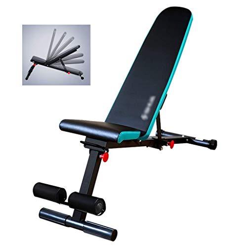 BATOWE Hantelbank, Sit-ups Fitnessgeräte Haushalt Multi-Funktions-7-Gang-Adjustment Faltbare Fitness Stuhl Vogel Bank Bett Gewichtheben (Color : Blue)