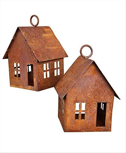 Bornhöft Edelrost Lichterhaus 2er SetWindlicht Gartendeko rostige Deko Kerzenhaus (Set zum hängen)