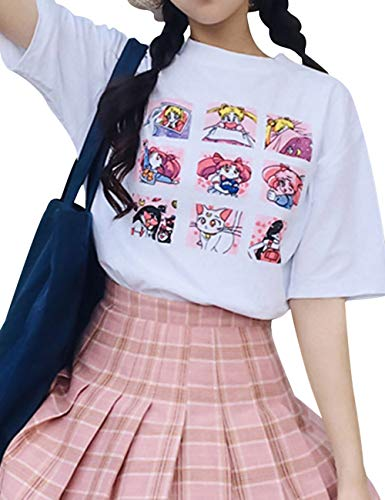 Sailor Moon T-Shirt, Cartoon Anime Print Shirt Novelty Round Neck Short Sleeve