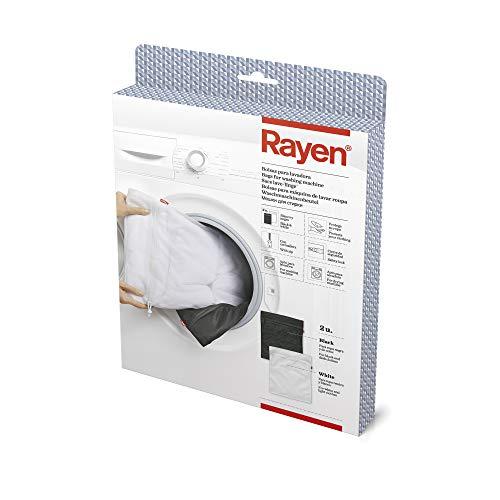 Rayen 50 X 40 cm Bolsa para Lavadora y Secadora | Protege su Ropa | con Cremallera | con Cierre de Seguridad, Blanco/Negro
