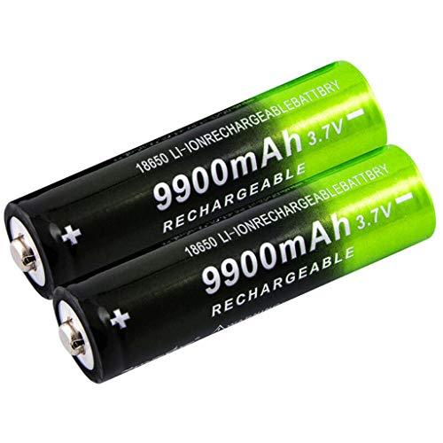 TOPPU 2/4/8 Stück 18650 Bateria, 3.7v/ 9900mah Akku, wiederaufladbare Batterien 1,800 Zyklen, für Icr18650 Lithiumbatterien Li-Ion Bateria, für Power Bank Scheinwerfer Ersatz,Taschenlampen (2 Stück)