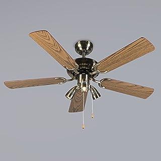 Qazqa Ventilateur de Plafond avec lumiere   Lampe de Ventilateur Moderne - Mistral Lampe Bronze Marron - GU10 - Convient p...