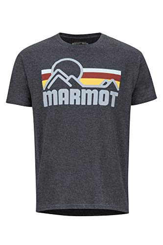 Marmot Coastal tee SS Camisa, Camiseta De Manga Corta para Exteriores, Idónea para Hacer Deporte E IR Al Gimnasio, Secado Rápido, Transpirable, Hombre, New Charcoal Heather, S