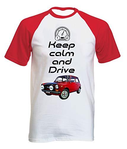 Teesandengines Autobianchi A112 Abarth Keep Calm con Manga Corta roja T-Shirt Size Xxlarge