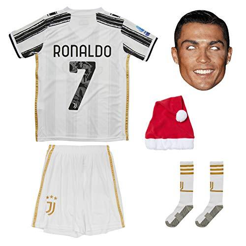 Juventus Ronaldo Trikot Set #7 Heim 2018/19 Kinder Fussball Trikot Mit Shorts und Socken Kinder (9-10 Jahre)