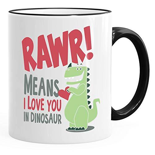 MoonWorks® Kaffee-Tasse Rawr Means I Love You In Dinosaur T-Rex Valentinstag Liebe Geschenk schwarz unisize