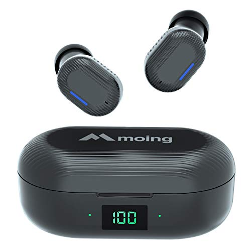 Wireless Earbuds, Bluetooth 5.0 Earphones Support Wireless Charging Cordless Earbuds with Digital LED Display Case in-Ear Headphones for iPhone Android Auto Pairing IPX5 Sweatproof earbuds(Black)