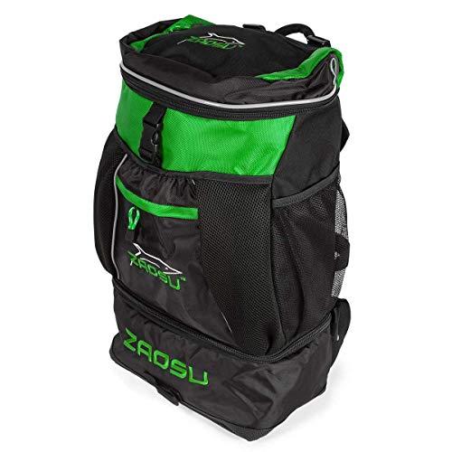 ZAOSU Triathlon- & Schwimm-Rucksack - Transition Bag | 45 Liter mit Nassfach für Schwimmbekleidung nach dem Wettkampf oder Training, Farbe:grün