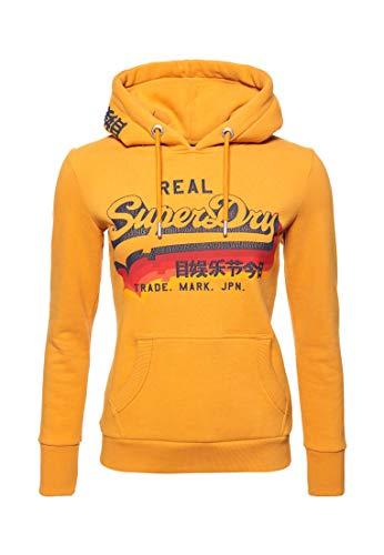 Superdry Damen Vintage Logo Rainbow Shadow Hoodie Goldgelb 40