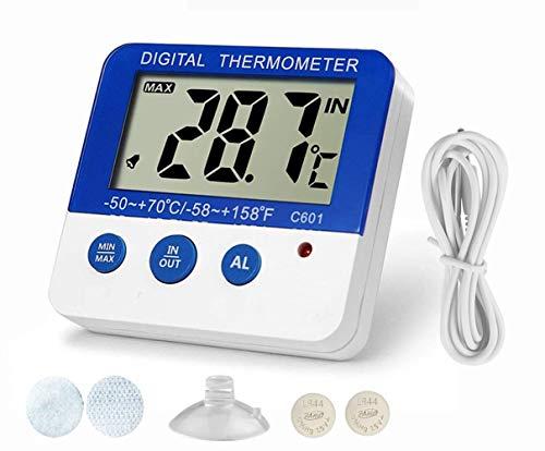 BALDR 冷凍庫 温度計 冷蔵庫 デジタル温度計 小型 最高・最低室内室外温度記録 最高・最低 室外温度アラーム機能 室温計 水槽温計 卓上スタンド マグネット付 防水外部センサー 日本語簡易説明書付属