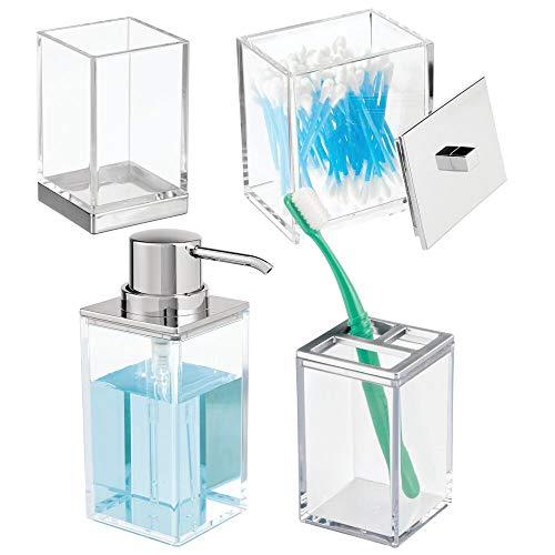mDesign Set da 4 accessori bagno elegante – Include 1 portaspazzolini, 1 dispenser sapone, 1 contenitore con coperchio e 1 bicchiere – Perfetto per bagno padronale o degli ospiti – trasparente/argento