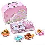 BEIAOSU Zin Teeservice Set Teeset mit Koffer für Kinder Kaffeeservice Kinderküche Rollenspiele Geschirr aus Zinn 24 Teilig
