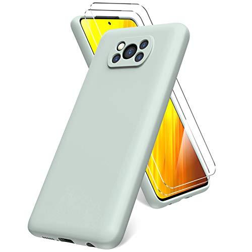 Oududianzi Funda Compatible con Xiaomi Poco X3 NFC, 2 Unidades Protector Pantalla Cristal Templado, Silicona Líquida Gel Ultra Suave Funda- Menta