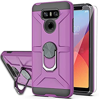 YmhxcY Compatible for LG G6/G6 Plus Case with HD Screen Protector,360 Degree Rotating Ring Kickstand Holder Dual Layers of Shockproof Phone Case for LG G6-ZS Purple