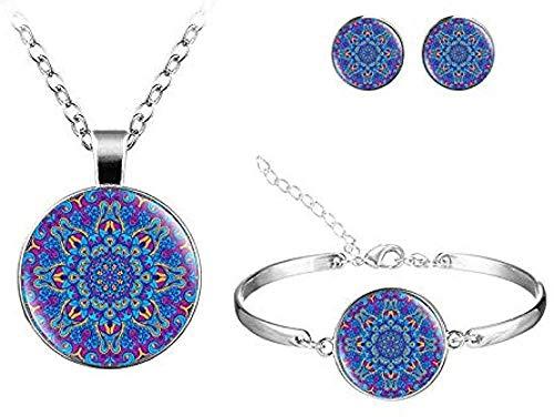 BACKZY MXJP Collar Collar Vintage Pendientes Pulsera Conjuntos De Joyas Mandala Flor Patrón De Yoga Conjuntos De Joyas De Cristal Hechos A Mano para Mujeres Collar