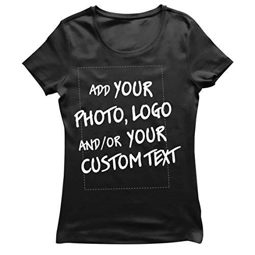 lepni.me Camiseta Mujer Regalo Personalizado, Agregar Logotipo de la Compañía, Diseño Propio o Foto (Medium Negro Multicolor)