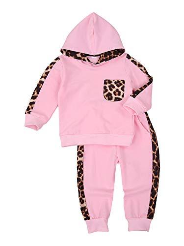 Conjunto de ropa deportiva para bebé niña con estampado de leopardo arcoíris y volantes para otoño e invierno, Sudadera con capucha rosa, 1-2 Años