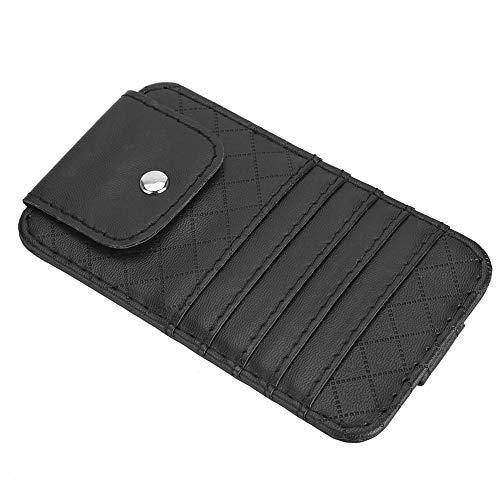 Organizador de visera de automóvil, accesorios para automóviles personales Material de cuero de microfibra hecho de cuero material premium (negro)