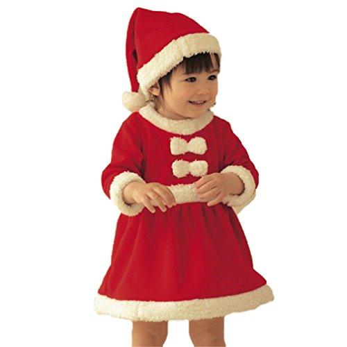 Bebé Niña Invierno Navidad Cosplay Vestido Traje Vestido Sombrero 2pcs Recien Nacido Conjunto Disfraz Navidad Fiesta Reyes