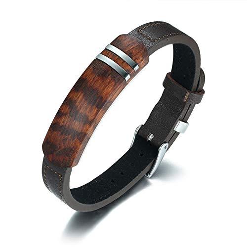WXYBF Herren Armband Antikes Palisander Holz Echtes Leder Armband Herren Schmuck Uhr Verschluss