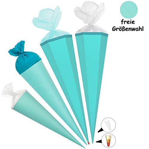 alles-meine.de GmbH Schultüte - Rohling - TÜRKIS blau - 70 cm - rund - Filzabschluß - mit / ohne Kunststoff Spitze - Zuckertüte - Ursus - Jungen Mädchen - einfarbig Uni - Schultü..