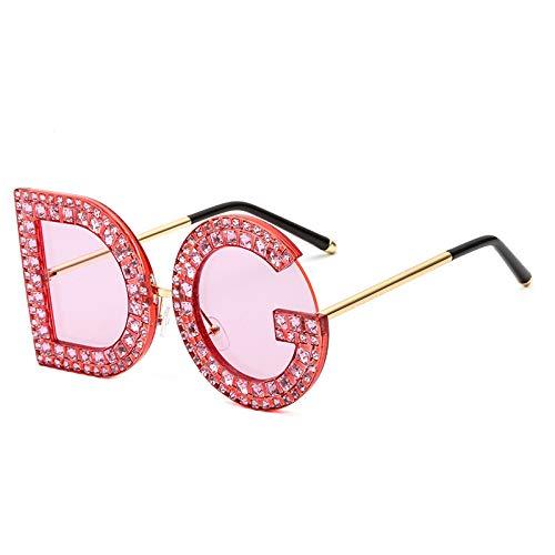 WDTYYJ 11 Farben optional Sonnenbrille Persönlichkeit D Buchstabe G Diamant Damen Sonnenbrille 4