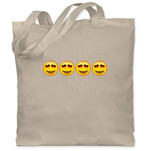 Shirtracer Comic Shirts - Verliebter Emoticon Deutschland - Unisize - Naturweiß WM101 - Stoffbeutel aus Baumwolle Jutebeutel lange Henkel