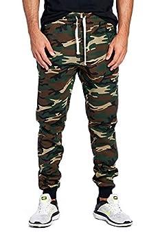 ProGo Men s Joggers Sweatpants Basic Fleece Marled Jogger Pant Elastic Waist  Medium Forest Camouflage