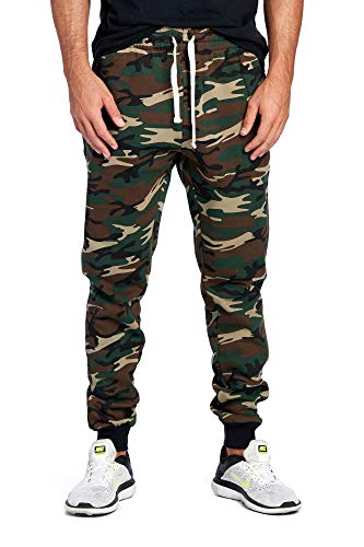 ProGo Men's Joggers Sweatpants Basic Fleece Marled Jogger Pant Elastic Waist (Medium, Forest Camouflage)