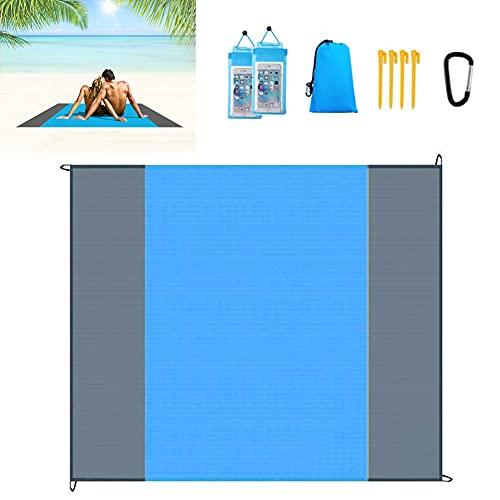 HUYIWEI Estera de playa, 210cm * 200cm portátil plegable e impermeable,manta de picnic antiarena,4 soportes de playa+2 bolsas impermeables,camping, picnic,viajes,senderismo,parque,jardín