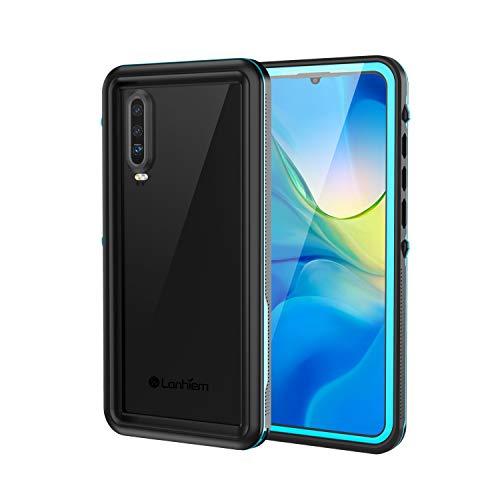 Lanhiem für Huawei P30 Hülle, IP68 Zetrifiziert Wasserdicht Handy Hülle 360 Grad Schutzhülle, Stoßfest Staubdicht und Schneefest Outdoor Schutz mit Eingebautem Displayschutz - Blau