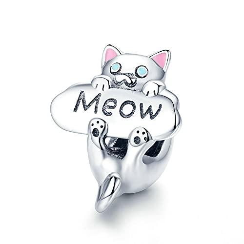 LIJIAN DIY 925 Sterling Jewelry Charm Beads Naughty Cat Meow Cat Animal Make Original Pandora Collares Pulseras Y Tobilleras Regalos para Mujeres