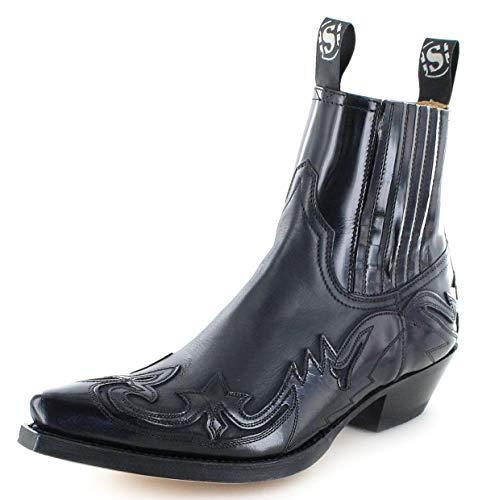Sendra Boots Unisex Cowboy Stiefel 4660 Negro Westernstieflette Lederstiefelette Schwarz 41 EU